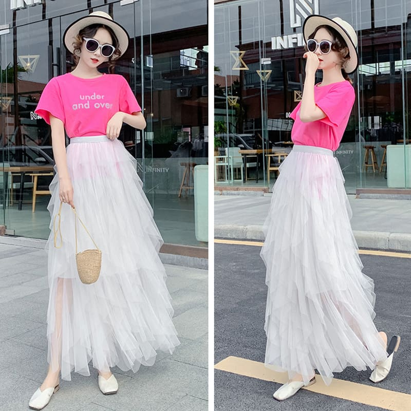 2019 Fashion Summer Women Boho Lace Tiered High Waist New Beach Long Skirt Sundress Holiday Travel Solid Casual Skirt
