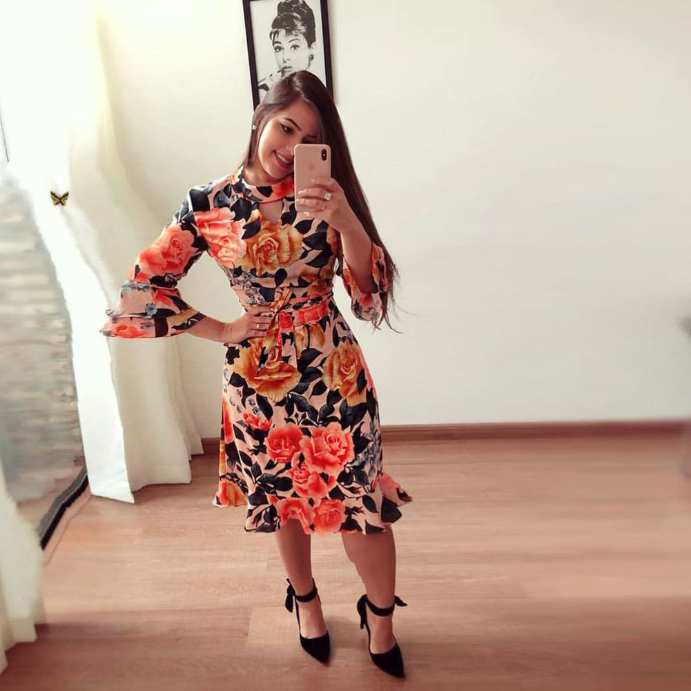 Women Boho 3/4 Sleeve Ruffles Loose Fit Short Party Dress Casual Ladies Holiday Clothing