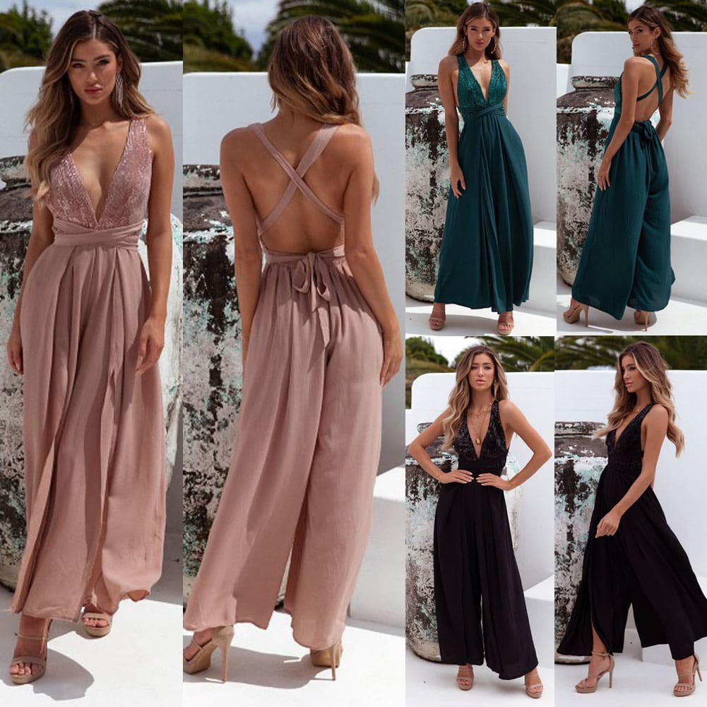 Fashion Jumpsuits Women Summer Chiffon Sexy V Neck Sleeveless Ladies Backless Casual Loose Wide Leg Pants Romper Trouser