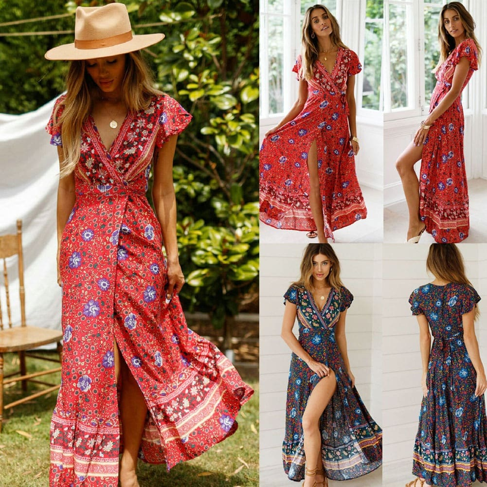 Women Boho Floral Dress Summer Holiday Beach Long Maxi Evening Party Dress Chic Ethnic Style V-neck Split Dresses