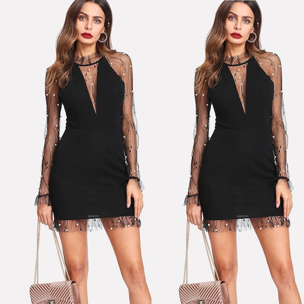 Summer Pearl Vines Lightning Mesh Perspective Sexy Slim Dress