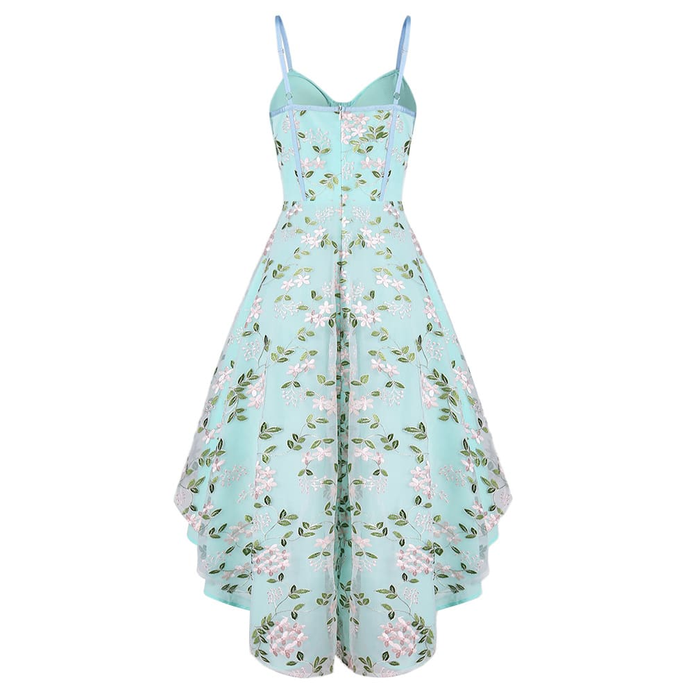 Vintage Lace Embroidered Party Dress Women Trumpet Dress