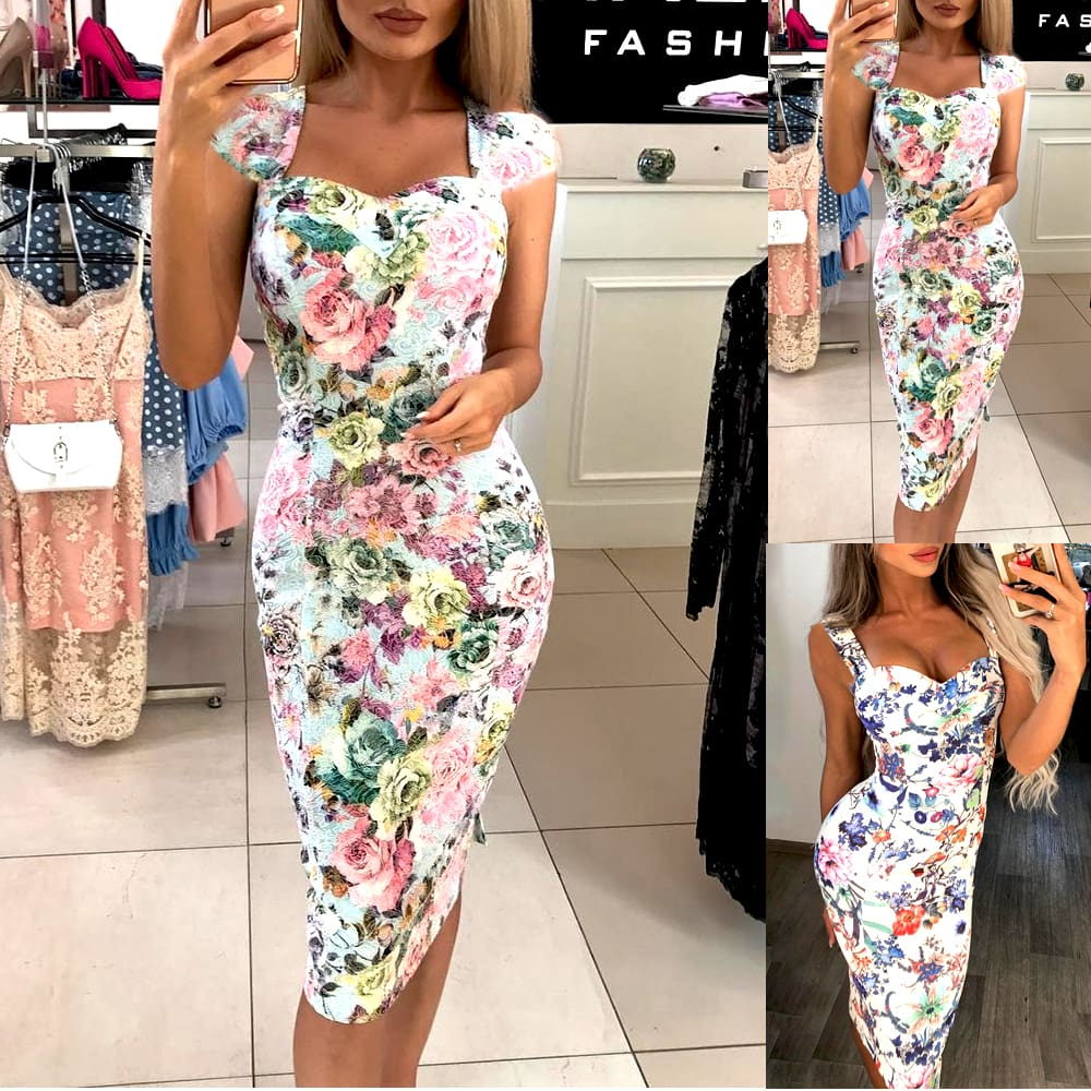 Fashion Women Summer Holiday Strappy Striped Off Shoulder Long Floral Boho Dress Beach Slim Bodycon Pencil Dress Sundress