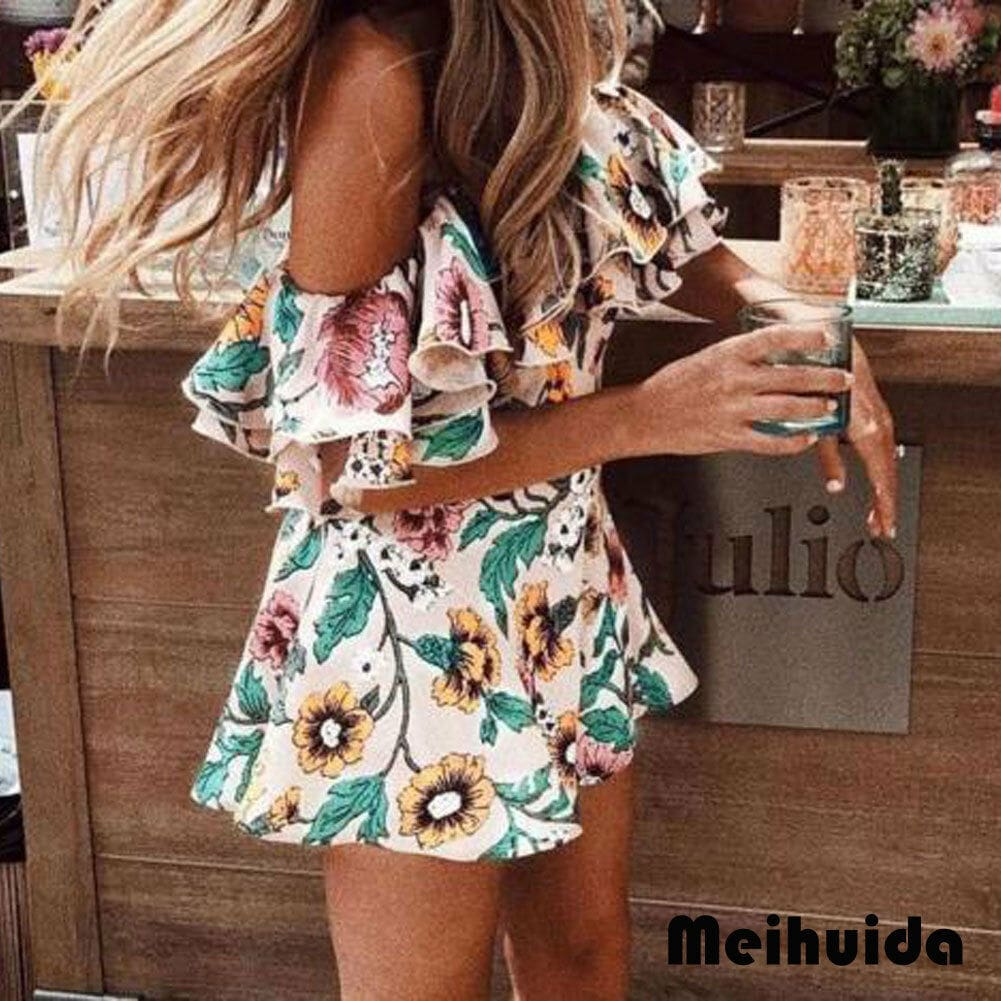 Boho Floral Playsuit Women Summer Off Shoulder Ruffle Bodycon Jumpsuit Romper Beach Casual Shorts Party Trousers