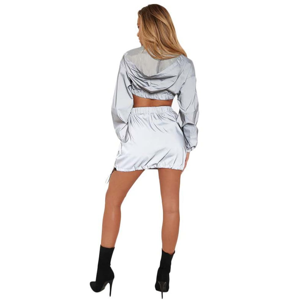 2pcs Women Summer Sport V-Neck Hoodie Suit Silver Zipper Crop Top Skirt Fashion Ladies Casual Outfit Long Sleeve Clothes