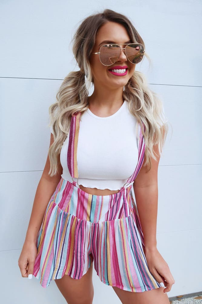 Summer Womens Overalls Pocket High Waist Striped Suspender Trousers Fashion Beach Casual Loose Straps Rompers