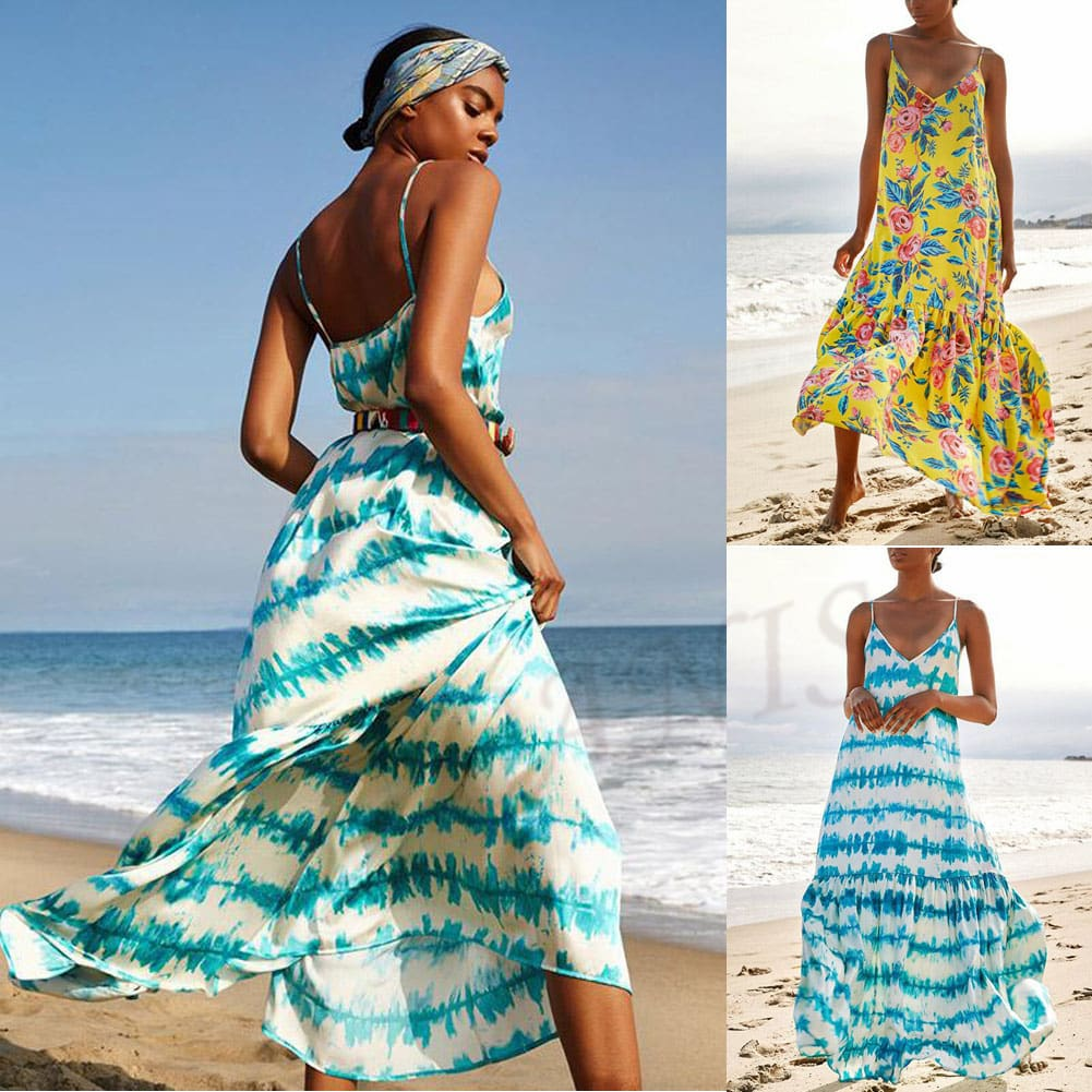 Fashion Beach Dress Women Holiday Sleeveless Loose Summer Beach Casual Floral Long Maxi Dress Sundress