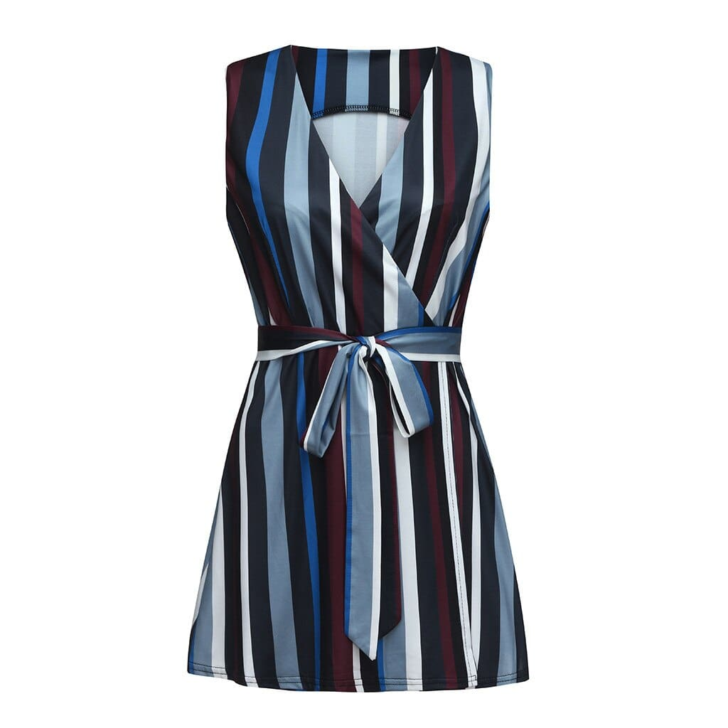 Women Summer Sleeveless Striped Printed Elastic Beach Party Dress