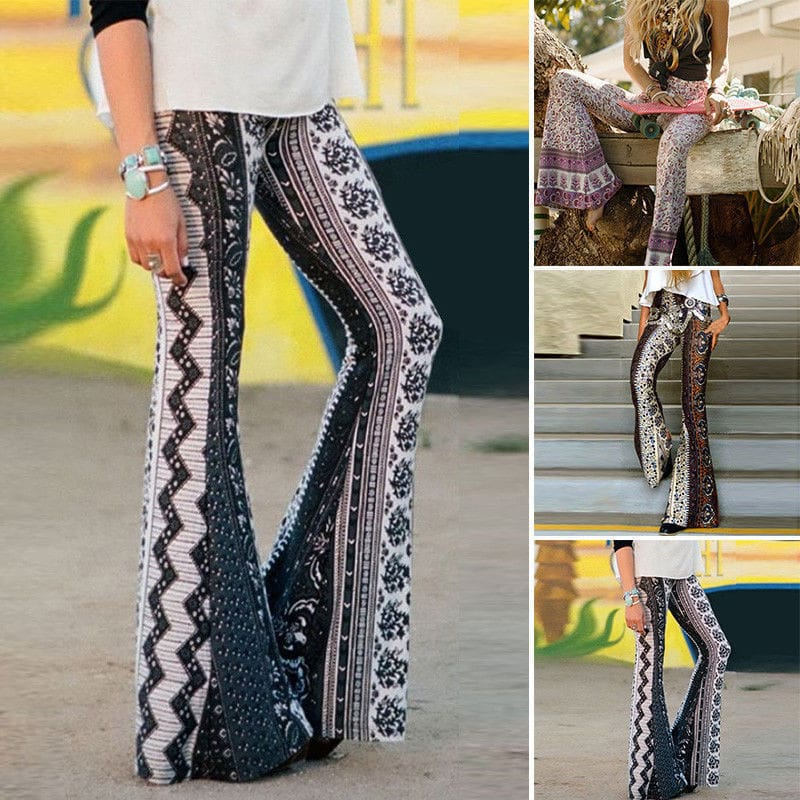 Women Boho Hippie High Waist Loose Wide Leg Flared Bell Bottom Fashion Ladies Floral Long Pant Summer Trouser
