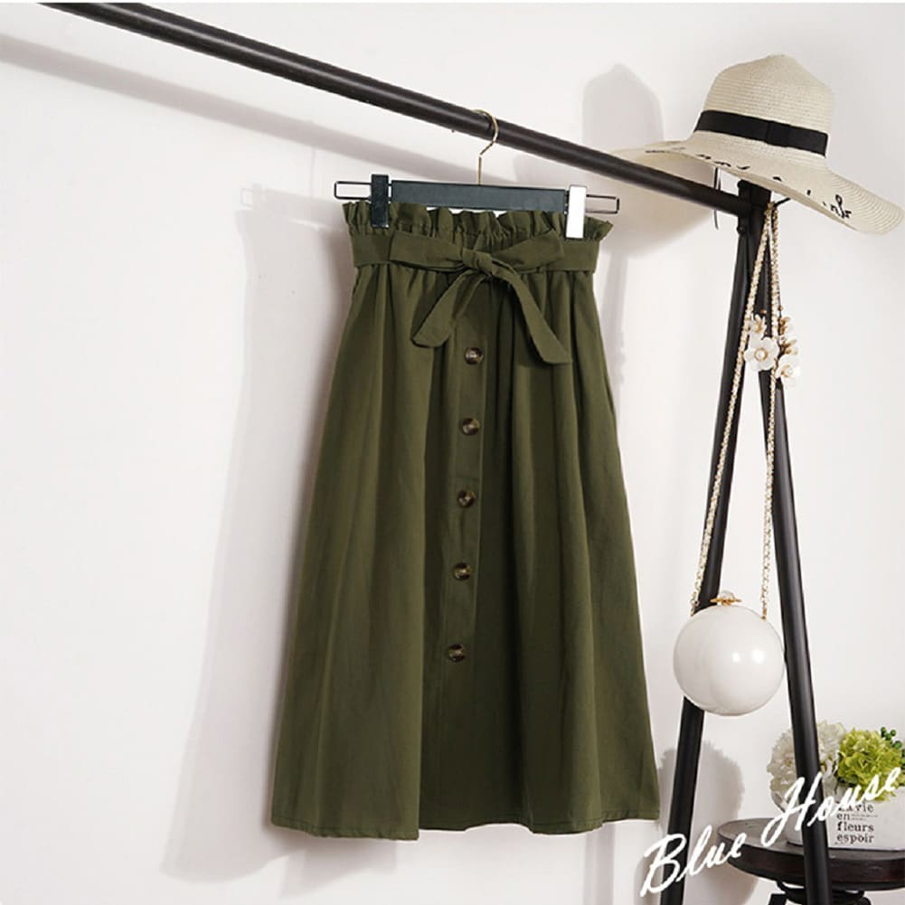 Fashion A-Line Skirt Women Casual Elastic High Waist Loose Summer OL Ladies Pocket Button Midi Long Skirt