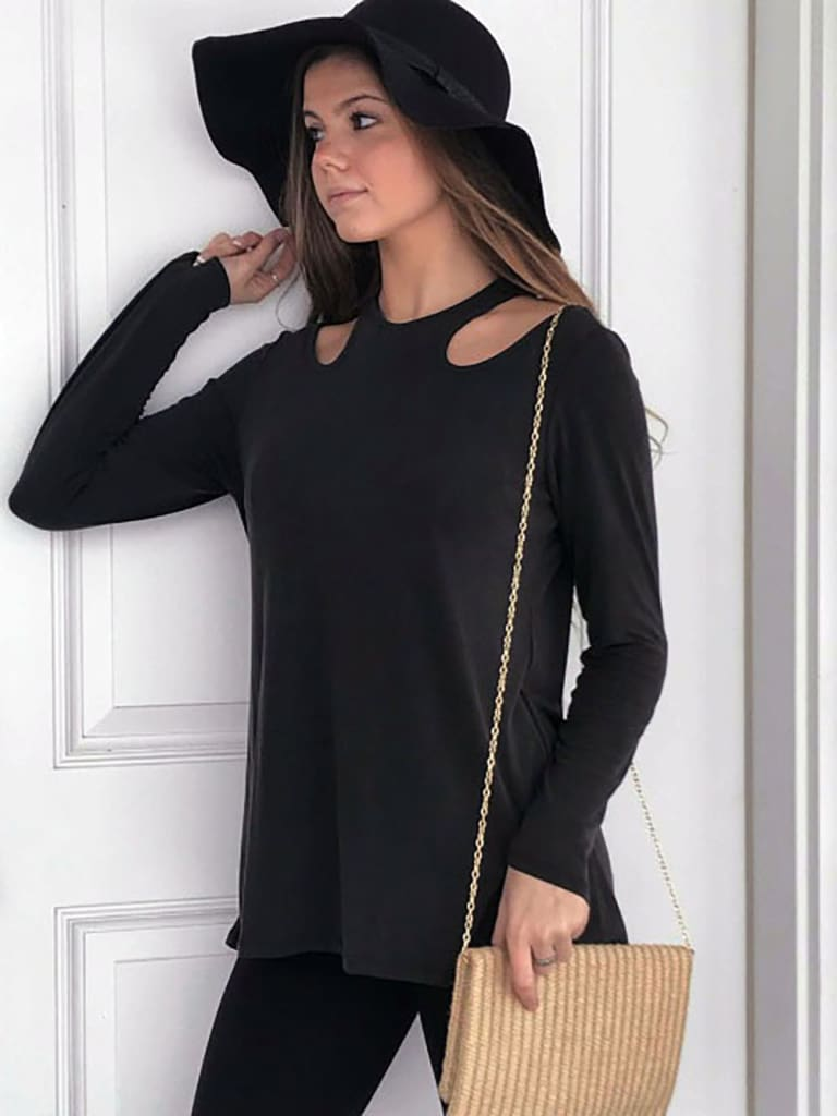 Women Long Sleeve Shirt Tops Ladies Crew Neck Solid Casual Hollow Out Blouse