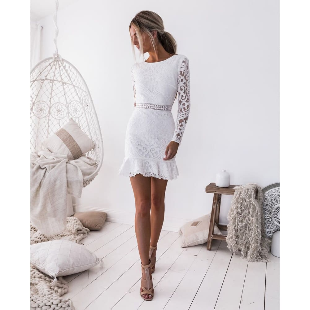Fashion Women Bodycon Women Sexy Long Sleeve Backless Lace Dress Cascading Contrast Ruffles Floral Mini Party Hollow out Dress