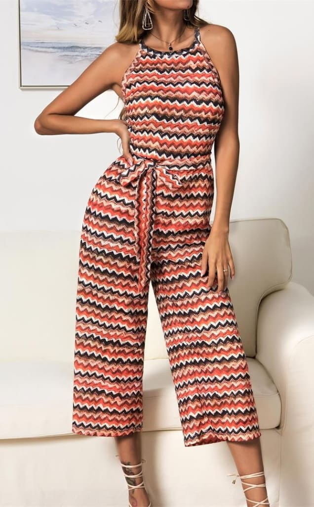 Women Casual Summer Jumpsuit Sleeveless Printed Bohemian Holiday Wide Leg Bodycon Party Long Trousers Romper