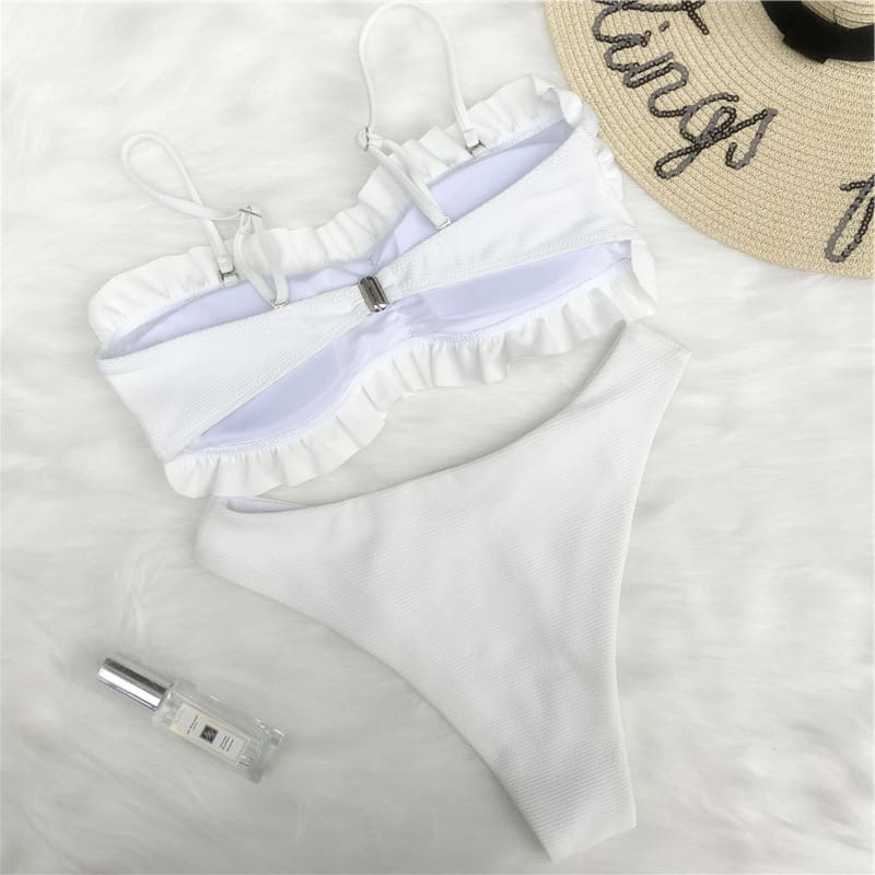 Two-Pieces Women Ruffles Bikini Padded Push-Up Bra Bandage Swimsuit