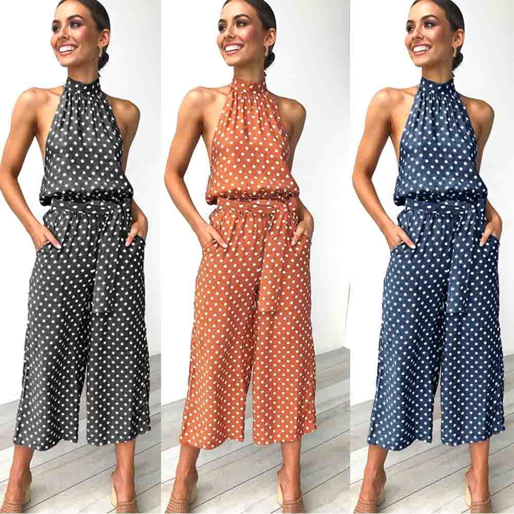 Women Polka Dot Sleeveless Halter Jumpsuit Playsuit Fashion New Ladies Party Summer Loose Wide Leg Romper Trousers