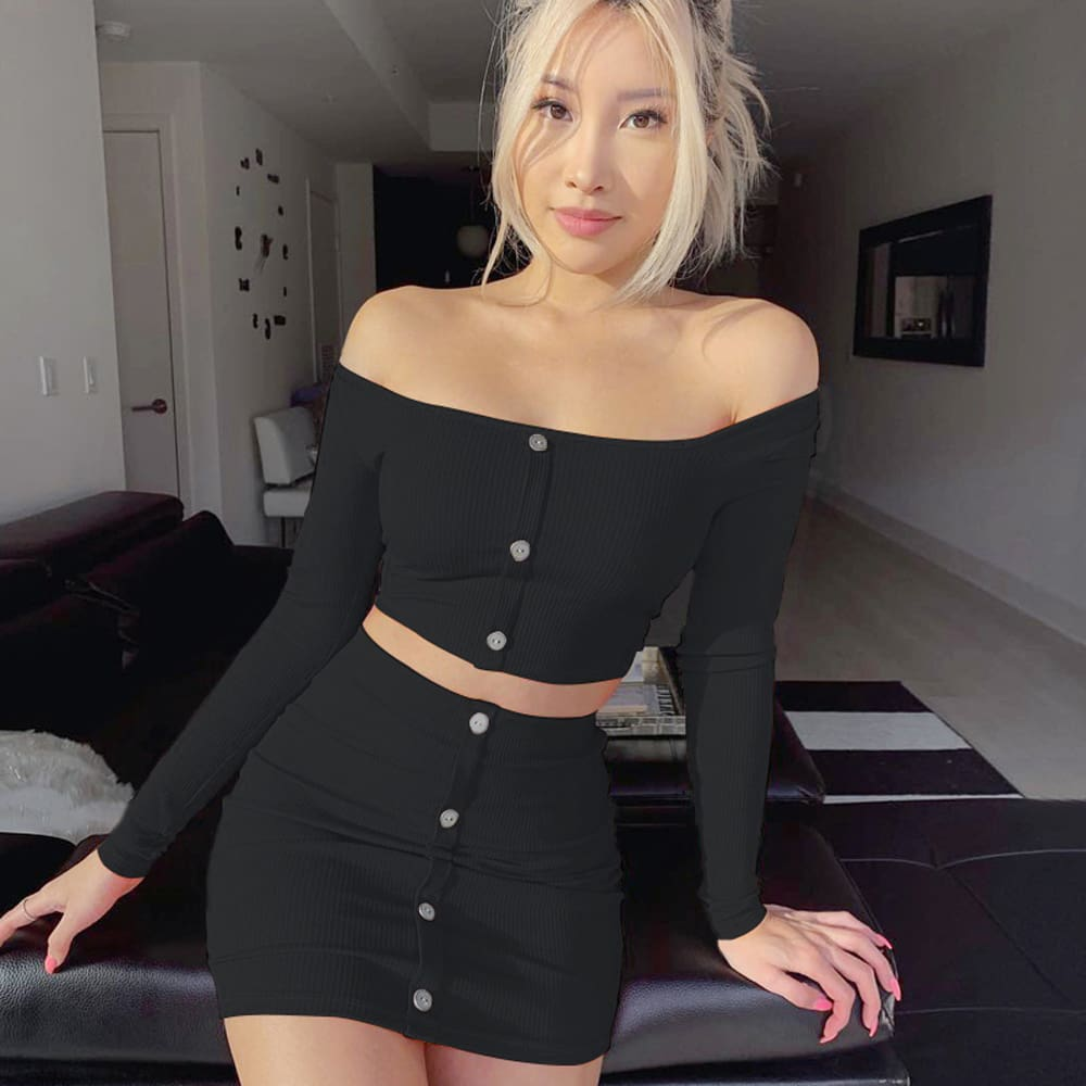 2pcs Sexy Women Off Shoulder Solid Crop Tops + High Waist Skirt Set Clubwear Ladies Summer Casual Bodycon Suit
