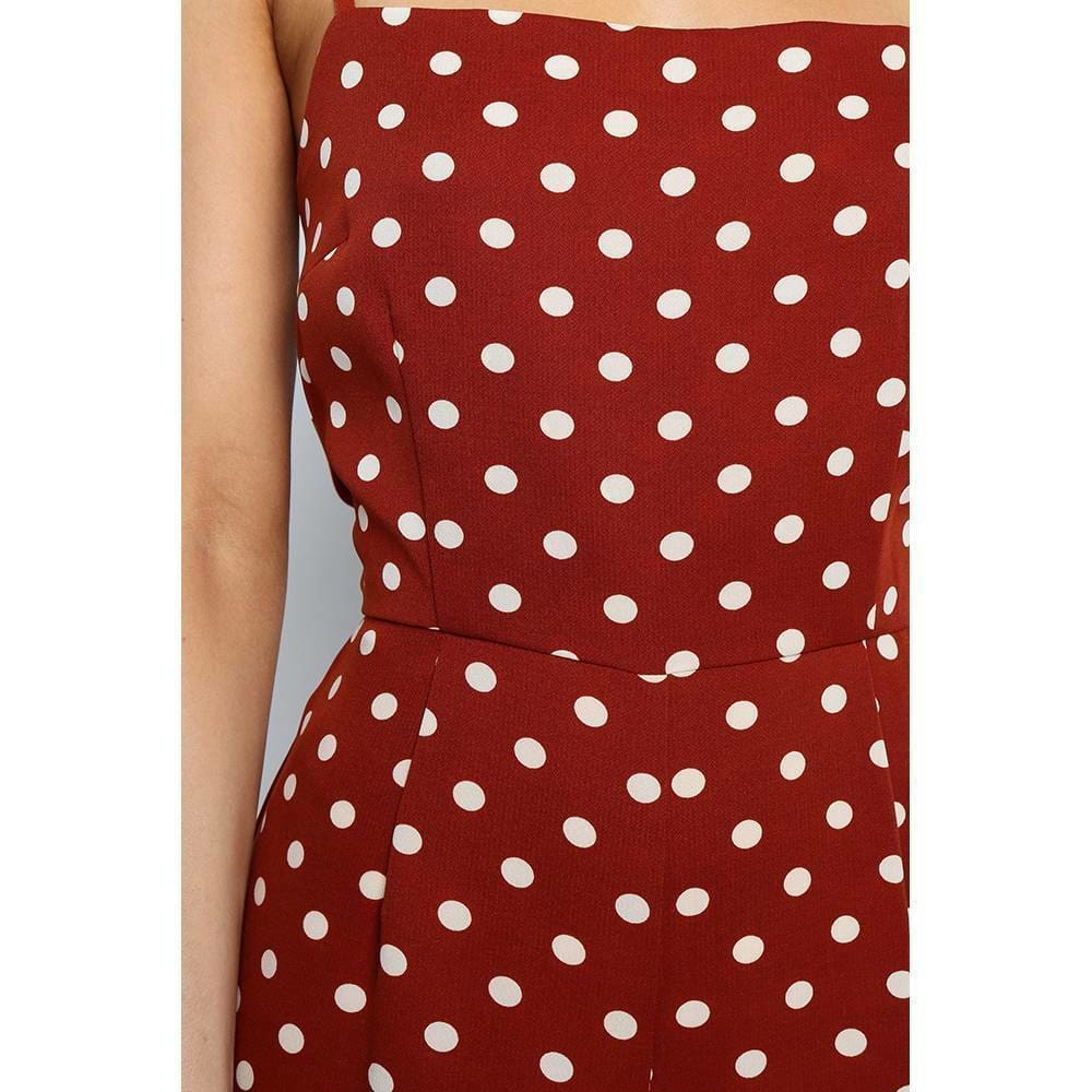 Elegant Sexy Jumpsuits Women Sleeveless Polka Dots Loose Trousers Wide Leg Pants Rompers