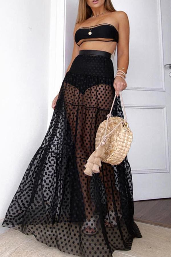 Summer Holiday Women Mesh See-Through High Waist Long Maxi Polka Dots Skirt
