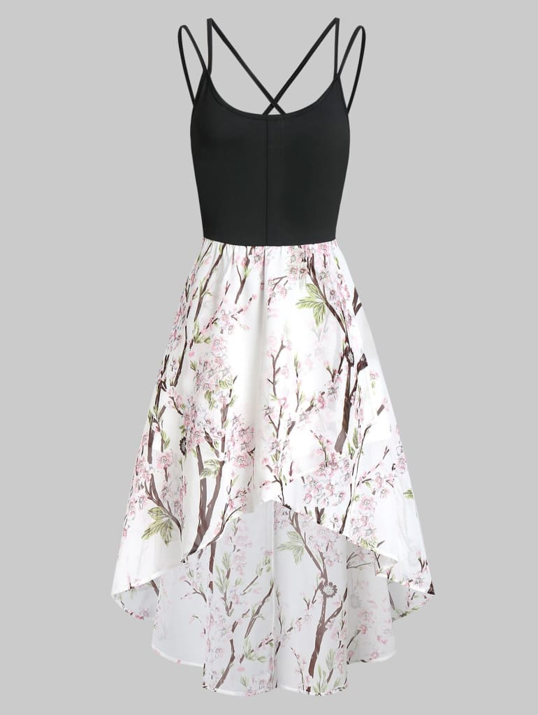 Asymmetric Floral Cross Back Cami Dress Spaghetti Strap Boho Dress