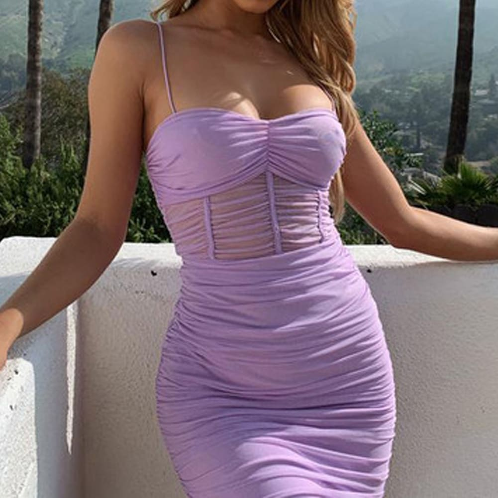Women Solid Strap Sleeveless Slim Dress Ladies Summer Casual Stretchy Package Hip Bodycon Holiday Sundress