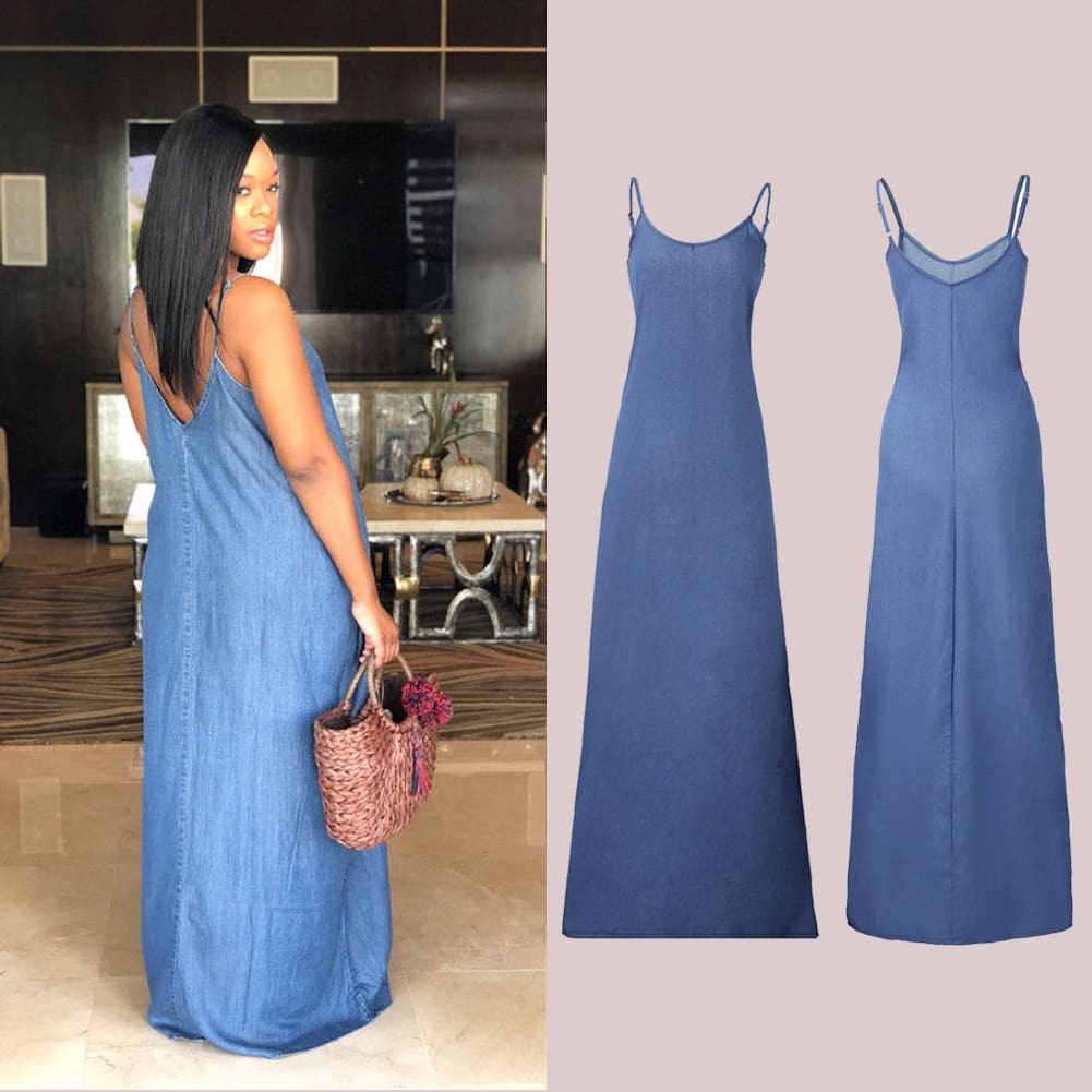 Ladies Boho Backless Summer Long Denim Maxi Dress