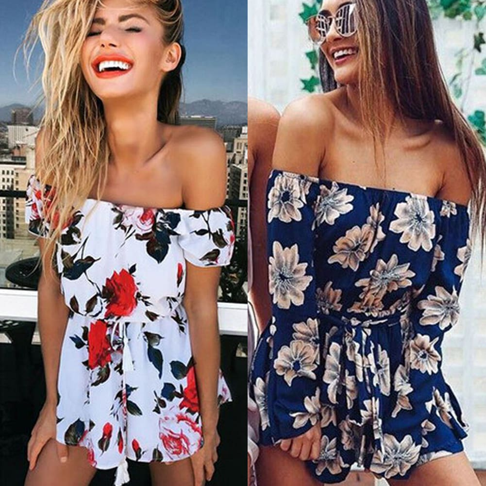 Boho Women Holiday Mini Playsuit Ladies Floral Off Shoulder Bodycon Summer Holiday Casual Beach Jumpsuit Short Romper