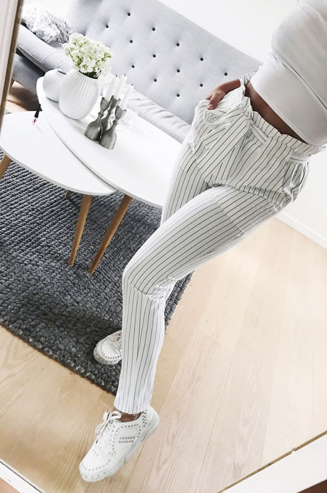 2019 New Elastic High Waist Striped Harem Pants Women Stringy Casual Slim Fit Long Pants Skinny Female Trousers Hot Sale