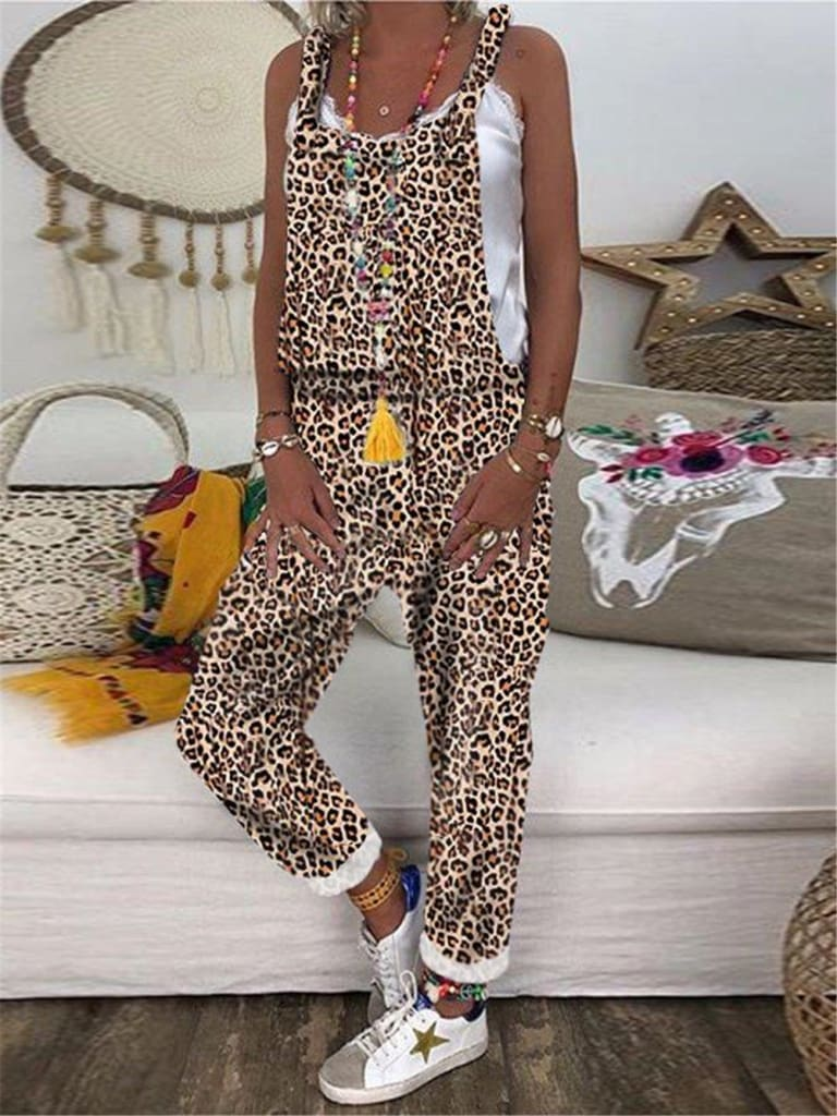 Women Sleeveless Leopard&Camouflage Jumpsuit Dungarees Overall Casual Harem Strap Long Pant Trousers