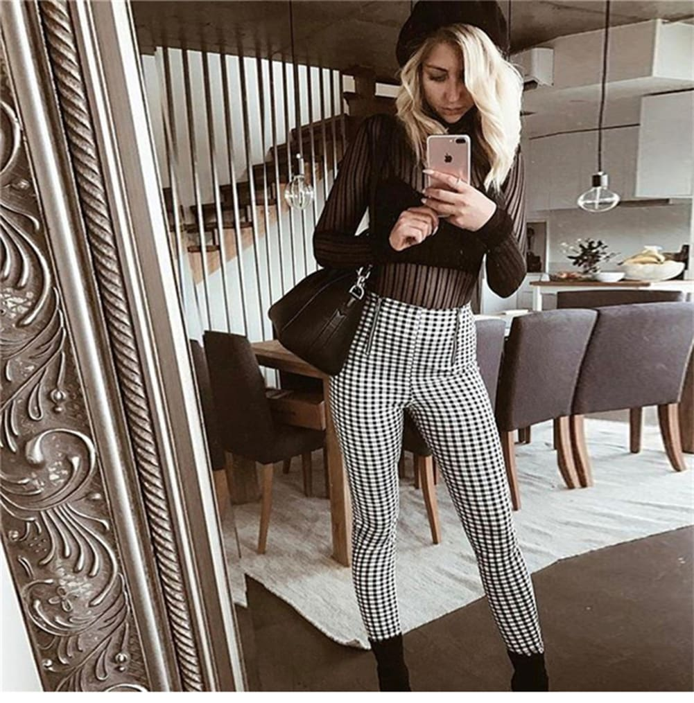 Fashion Women High Waist Plaid Stretch Skinny Fit Slim Trousers Ladies Sweatpants Long Pencil Casual Slim Pants