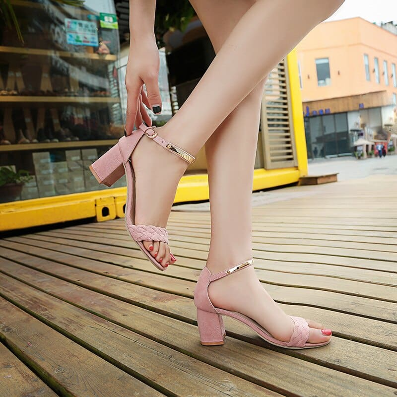 Womens Sandals Summer New One Word Womens Thick Heel Sandals