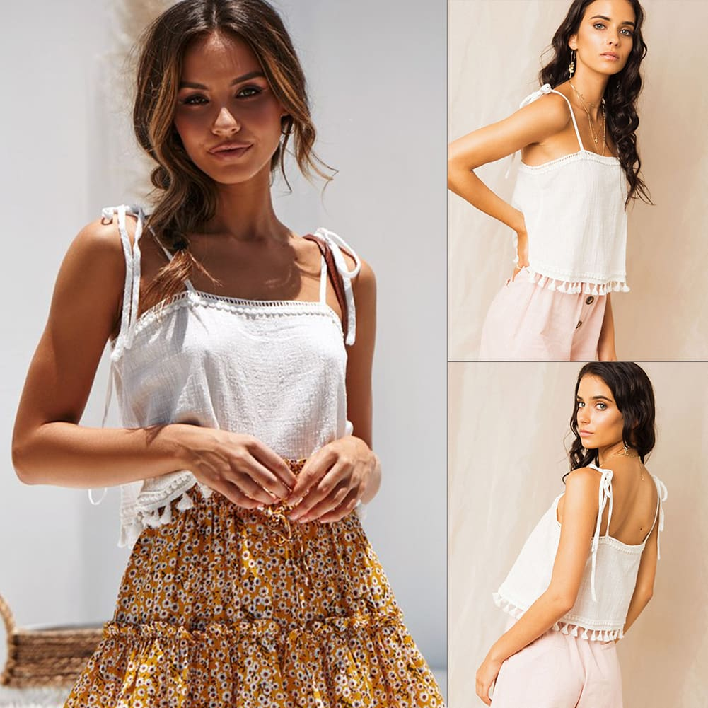 2019 Fashion Women Summer Tassel Vest Tops Sleeveless Blouse Casual Camis Tank Tops Femme Casual Vest