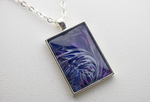 "1"" x 1.35"" Rectangular Pendant Necklace in Purple"