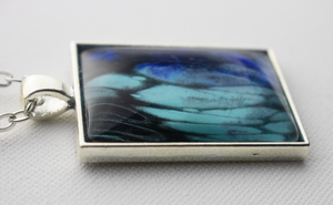 "1"" x 1.35"" Rectangular Pendant Necklace in Blues"