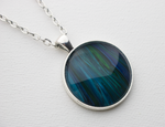 "1"" Round Pendant Necklace in Blue/Green"