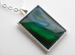 "1"" x 1.35"" Rectangular Pendant Necklace in Blue/Green"