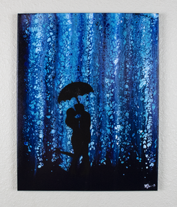 Playing In The Rain Acrylic Painting
