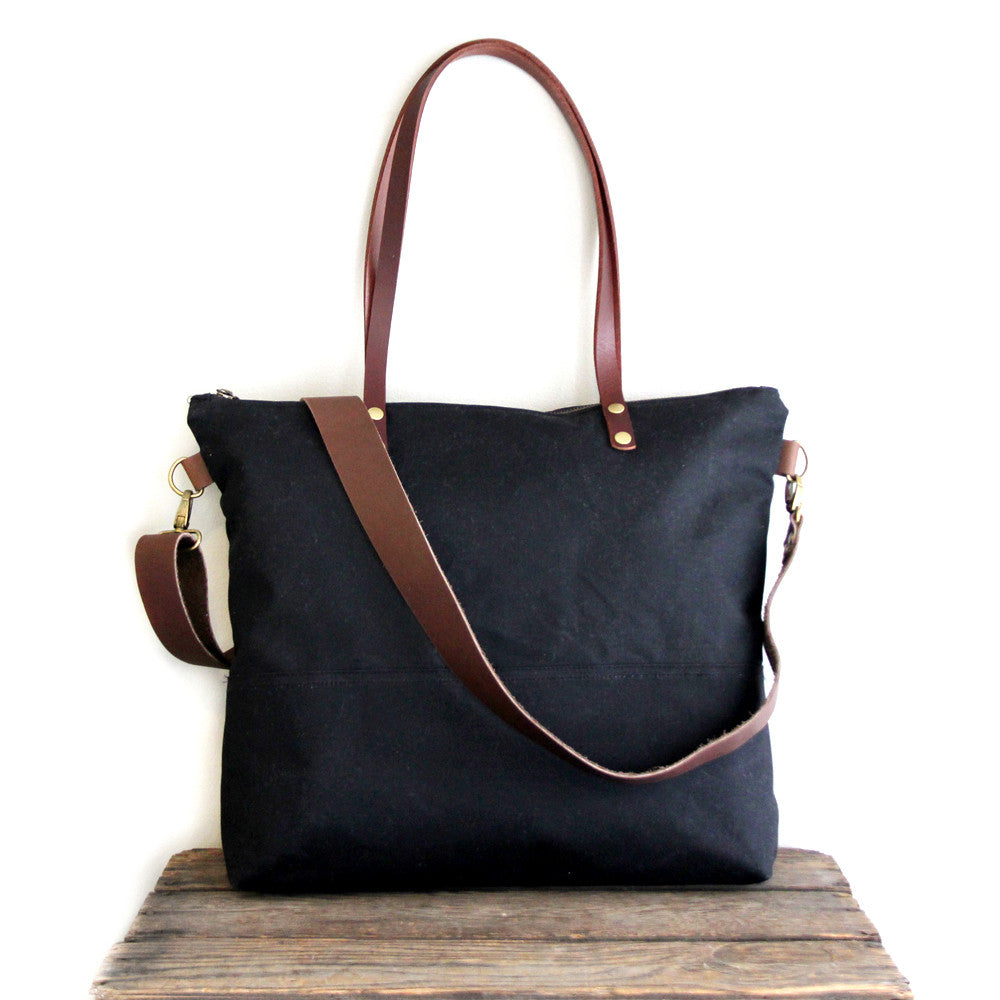 Waxed Canvas Tote in Black with Brown Leather