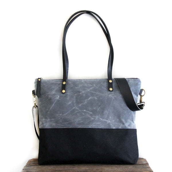 Waxed Canvas Tote in Charcoal Grey/Blue and Black