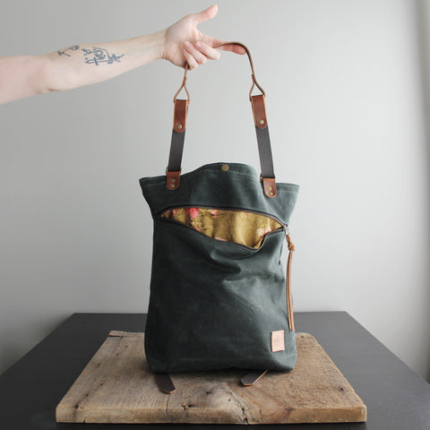 Convertible Backpack: Fir Waxed Canvas