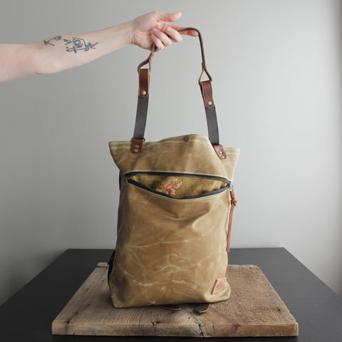 Convertible Backpack: Flax Waxed Canvas