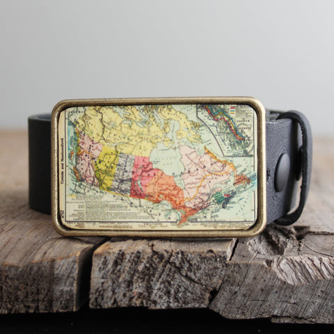 Belt Buckle: Vintage Map of Canada