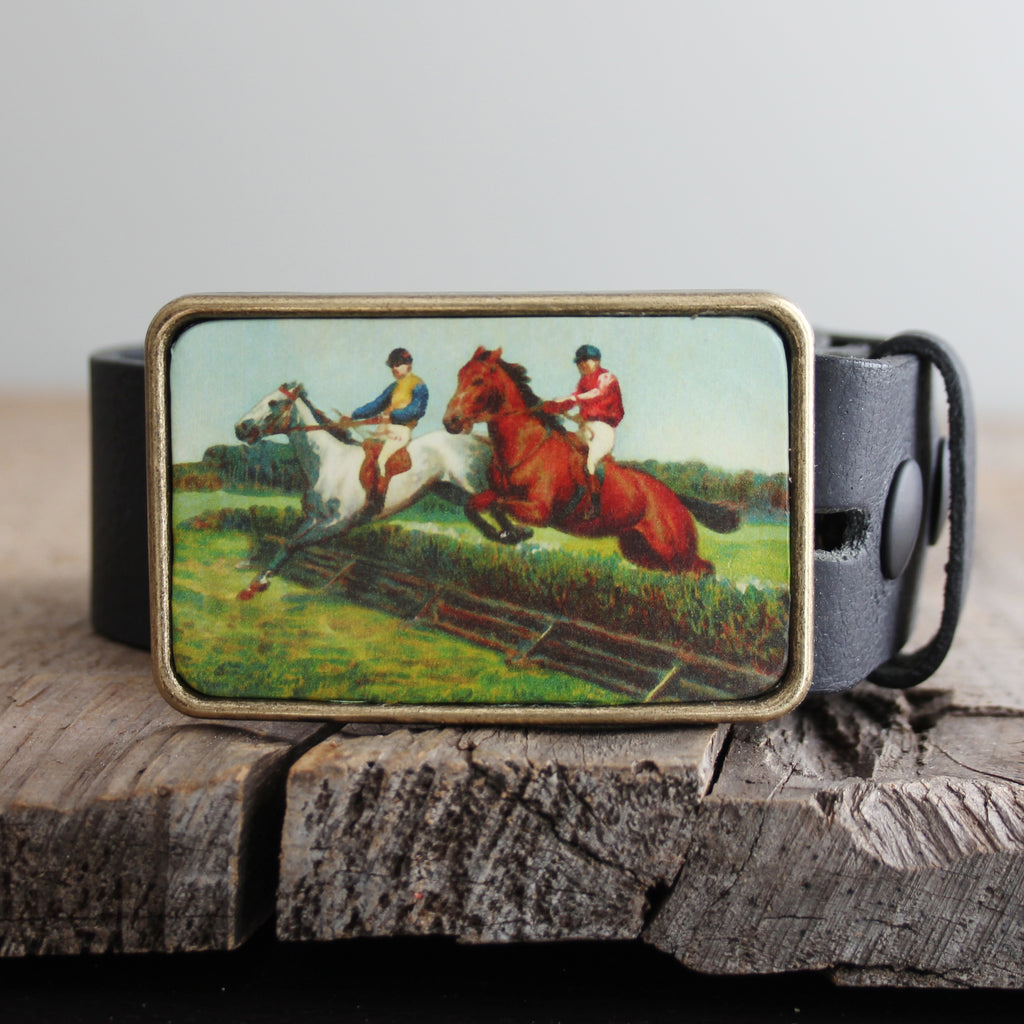 Belt Buckle: Horse Jumping