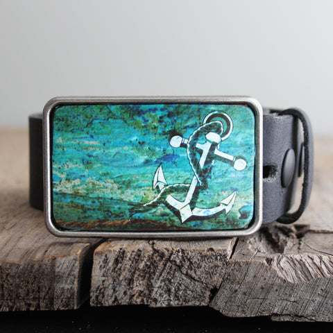 Belt Buckle: Anchor Teal