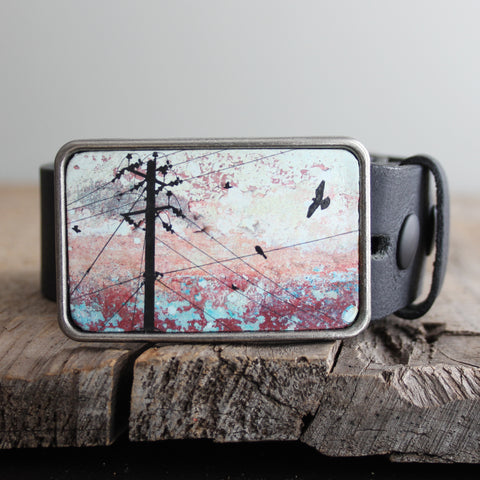 Belt Buckle: Birds on a Wire Pink/Teal