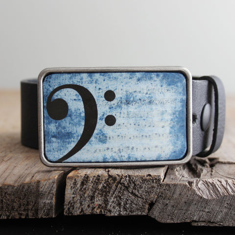 Belt Buckle: Bass Clef in Blue