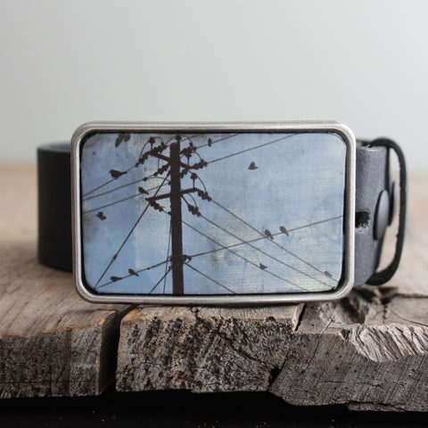 Belt Buckle: Birds on a Wire Blue