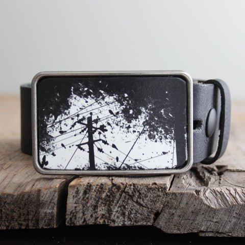 Belt Buckle: Birds on a Wire Black/White