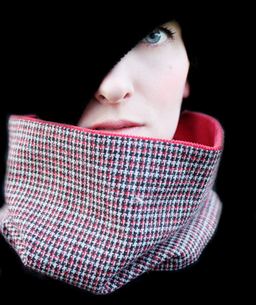Cowl Scarf: Red, White, Black