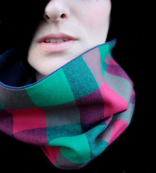 Cowl Scarf: Green, Blue, and Pink