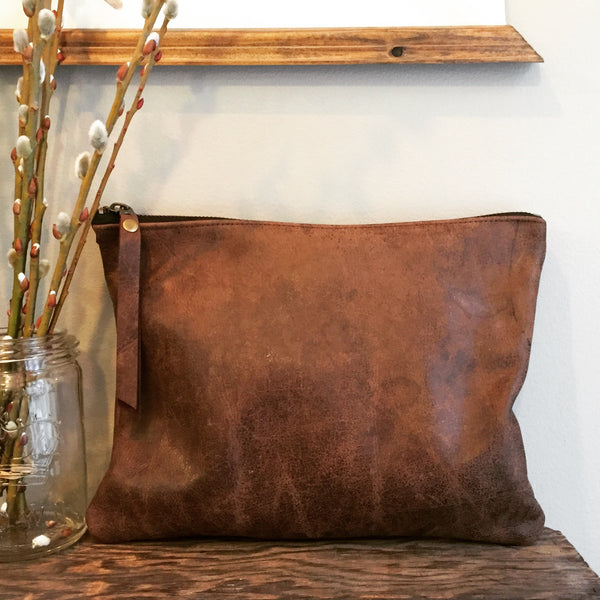 Reclaimed Leather Couch Clutch